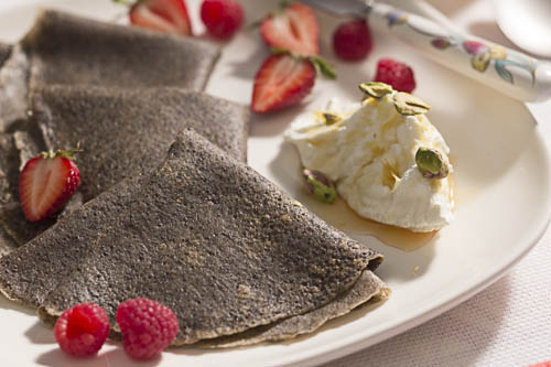Poppy Seed Buckwheat Crepes with Greek Style Yogurt