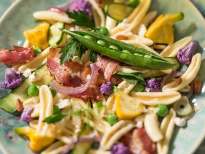 Fresh Spring Veggie Pasta with Rustic Pancetta & Fresh Cheese